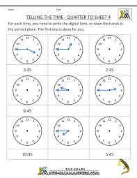 time worksheet telling the time quarter to 4 primary math