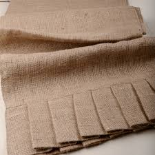 brown burlap table runner with ruffles for wedding table ideas