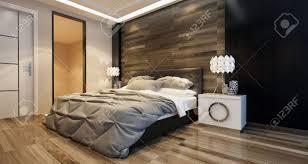 chambre avec mur en inter chambre moderne avec un éclairage zénithal et un lit élégant