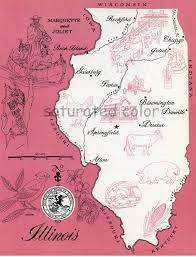 Chicago Illinois Map by Illinois Map Original Vintage 1960s Picture Map Fun Retro