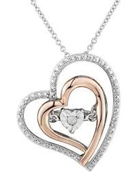 floating heart pendant necklace images Amazing deal on two hearts forever one diamond accent two tone
