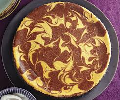 chocolate swirled pumpkin cheesecake finecooking