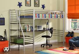 Loft Bed Frame With Desk Bedroom Engaging 4504 5 Silver Metal Staircase Bunk Bed With