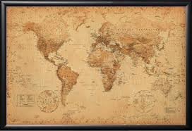 Vintage World Map Canvas by World Map Vintage Style Art Poster Print 24x36 Amazon Ca