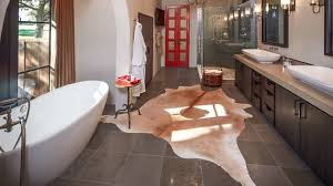 Rug For Bathroom 20 Lovely Ways Cowhide And Sheepskin Rugs Adorn A Bathroom Home