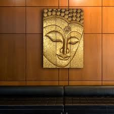 thai buddha statue large carved wooden wood wall