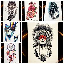 25 style indian tribal wolf warrior temporary tattoo waterproof