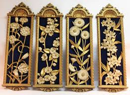 vintage wall decor set of four gold floral plaques with royal blue