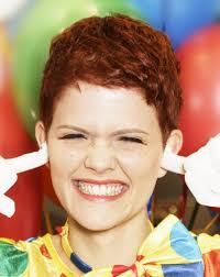 clown look short and feisty bright red hair for women
