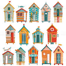 Colorful Beach Houses by Various Multicolored Beach Huts Stock Vector Art 471902326 Istock