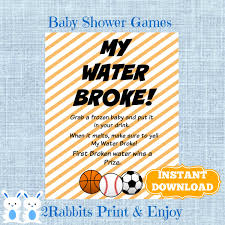 sports my water broke game sign frozen baby game sports baby