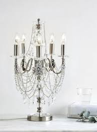 Bhs Crystal Chandeliers Chrome Vionnet Candelabra Table Lamp Chain Beads Crystal Gun Metal