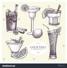vintage cocktail set vector set vintage alcoholic cocktails sketch stock vector