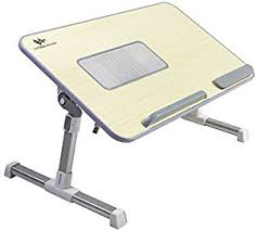 Couch Desk Table Amazon Com Adjustable Laptop Bed Tray Table With Cooling Fan By