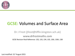 gcse volumes and surface area of solids by drfrostmaths
