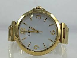 gold tone stainless steel bracelet images Women 39 s bulova 97l139 gold tone stainless steel bracelet white jpg