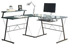 Glass Corner Desks Desk L Shaped Black Glass Corner Computer Desk Black Glass L