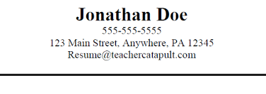 Resume Header Examples by Teacher Resume Teacher Catapult