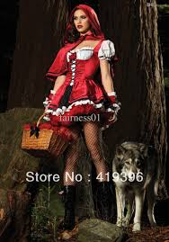 Red Riding Hood Halloween Costumes Cheap Wholesale Deluxe Red Riding Hood Women Costume