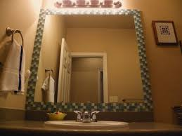 Framing Builder Grade Bathroom Mirror Diy Tile Glass Tile Frame For Plain Old Builder Grade Bathroom
