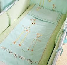 blue 100 cotton embroidery giraffe baby bedding set quilt pillow