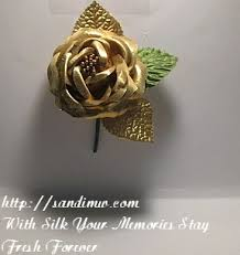 gold boutonniere gold silk flower for him