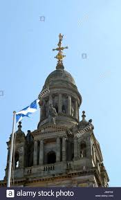 the scottish flag the saltire flies on top of the city chambers