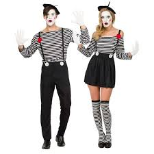 adults mime artist fancy dress mens ladies french circus costume