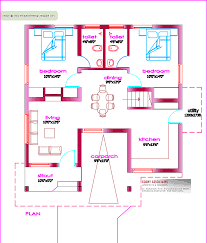 Small 3 Bedroom House Plans by Single Floor House Plan 1000 Sq Ft Kerala Home Design And