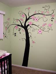 top notch image of kid baby nursery room decoration using light room decoration using light pink flower tree mural painting ideas including light green pink flower baby bedding and light green baby room wall paint