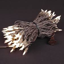 frosted white mini lights set 100 light brown wire 50