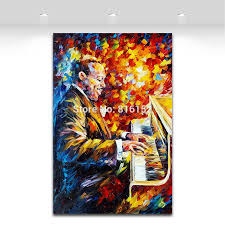 jazz home decor 2018 palette knife painting jazz music figure trumpet guita soul