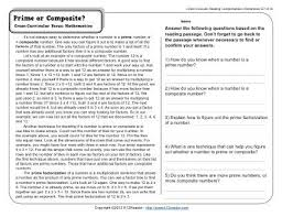 prime or composite 5th grade reading comprehension worksheet
