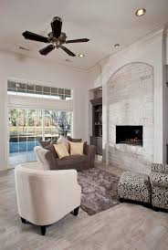 Patterned Armchair Stone Fireplace Wall Family Room Traditional With Brown Patterned
