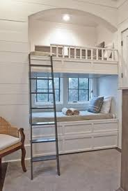 Pottery Barn Kids Bunk Beds Cottage Guest Bedroom With Crown Molding U0026 Built In Bookshelf In