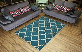 Teal Living Room Rug Amazon Com Trellis Area Rug Rugs Contemporary Modern Lattice