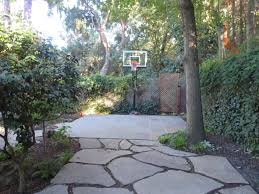 pro dunk silver basketball goal at the end of a beautiful