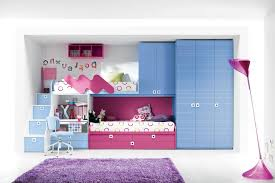 Pink And White Striped Rug Blue Wooden Bunk Beds Built In Stairs Using Striped Pattern Bed