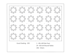 60 inch round table seats 40 x 60 pole tent seating arrangements