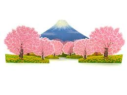stunning cherry blossom trees pop up decorative greeting card