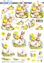 Decorating Easter Eggs Decoupage by Bunny Rabbit With Decorated Easter Eggs 3d Decoupage Sheet From Le Suh