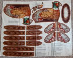 pheasant fabric panel total 36 inches long vintage cut sew u0026 stuff