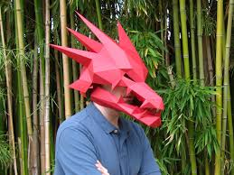 digital halloween mask diy dragon mask with moving jaw awesome rave costume paper