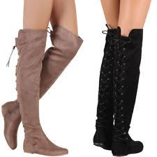 womens boots for flat the knee boots flat black wide calf leather ebay
