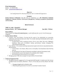 Employee Engagement Resume Priya S Bp Hr Resume