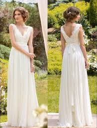 flowy wedding dresses summer a line lace chiffon informal boho wedding dresses