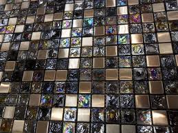 decorating glass tile iridescent stainless metal mosaic