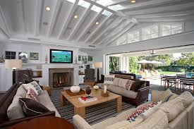 White Ceiling Beams Decorative by Orange County White Ceiling Family Room Traditional With Brown