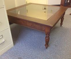 Glass Top Display Coffee Table With Drawers Collectors Display Top Coffee Table With Barrel Stave Legs Wine