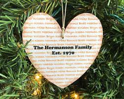 last name ornament etsy